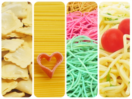 a collage of four pictures of different kind of pasta photo
