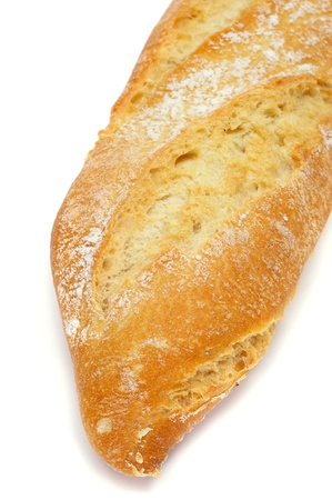 closeup of a baguette bread on a white background Foto de archivo
