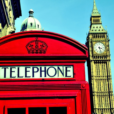 telephone box: a view of Big Ben and a classic red phone box in London, United Kingdom, with a retro effect
