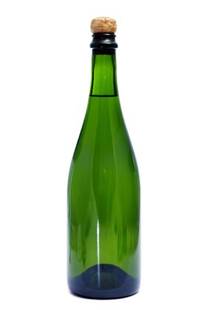 thirstiness: a bottle of cava, the spanish champagne, on a white background
