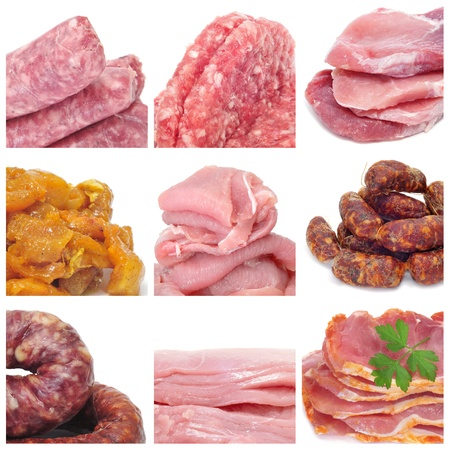 kitchen spanish: a collage of nine pictures of different meat products Stock Photo