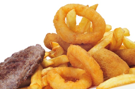 closeup of a spanish combo platter with burgers, croquettes, calamares and french fries Stock Photo - 16948362