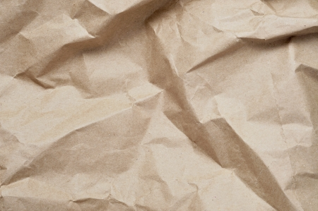 closeup of crumpled Kraft paper photo