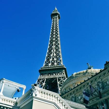 Las Vegas, US - October 12, 2011: Paris Las Vegas Hotel in Vegas, US. The resort has a hotel with 2,915 rooms and a half scale, 541-foot (165 meters) tall, replica of the Eiffel Tower