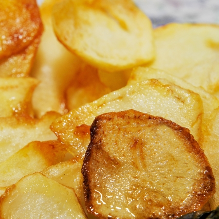 plato: closeup of a plate with spanish patatas fritas, french fries Stock Photo
