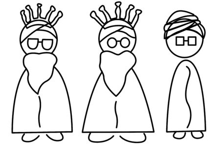 king caricature: una ilustraci�n de los Tres Reyes Magos, Melchor, Gaspar y Baltasar Foto de archivo