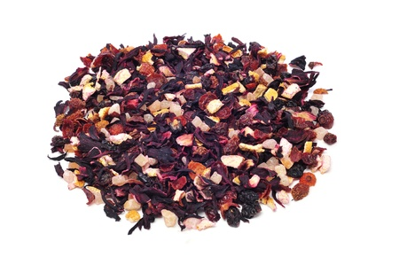 thirstiness: closeup of pile of a mix of dry fruits, as papaya and pineapple, and flowers, as hibiscus, to prepare herbal tea