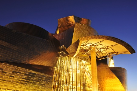 Bilbao, Spain - November 14, 2012: Guggenheim Museum at night in Bilbao, Spain. The picturesque museum was designed by Frank Ghery Stock Photo - 17051044