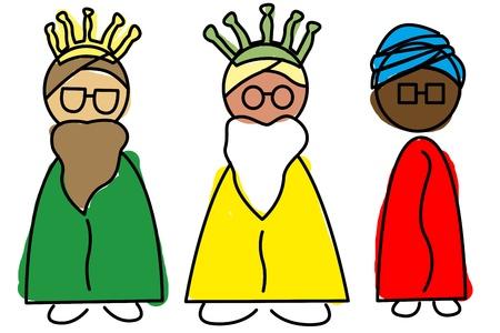 rey caricatura: una ilustración de los Tres Reyes Magos, Melchor, Gaspar y Baltasar Foto de archivo