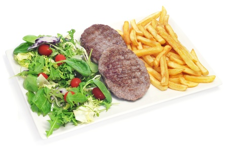 closeup of a combo platter with fried salad, burgers and french fries on a white background Stock Photo - 17092573