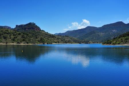 meanders: view of Siurana Reservoir in Tarragona Province, Spain