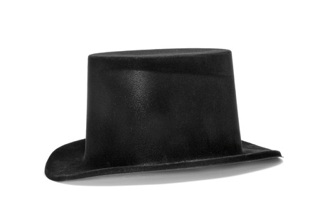 a top hat on a white background Stock Photo