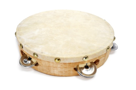 closeup of a pandereta, the spanish tambourine, on a white background photo