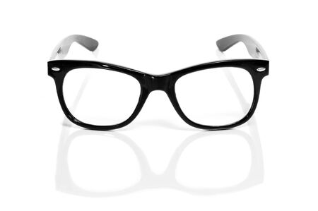 black glasses on a white background photo
