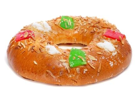 epiphany: roscon de reyes, spanish three kings cake eaten on epiphany day, on a white background