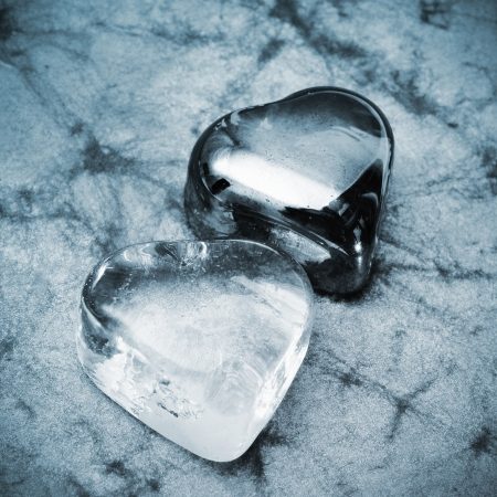 some glass hearts on a marbled background in black and white Stock Photo - 17215227