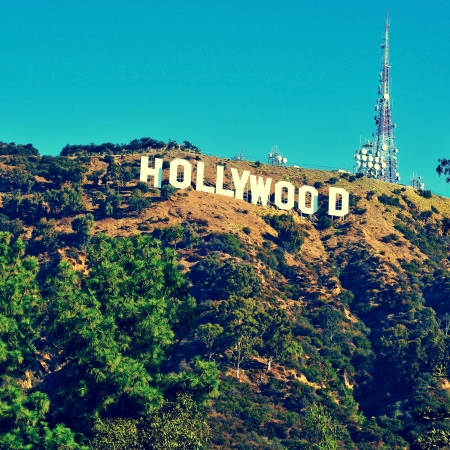 movie sign: Los Angeles, US - October 17, 2011: Hollywood sign in Los Angeles. The sign, located in Mount Lee, spells out the name of the area in 45-foot-tall and 350-foot-long white letters