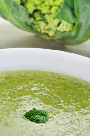 closeup of a bowl with vegetable puree and a broccoli photo