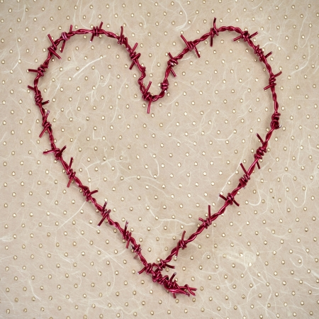 barbed wire: heart-shaped barbed wire on a patterned background