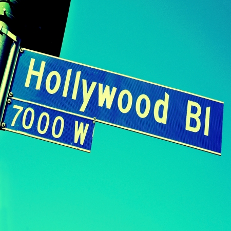 bl: Closeup of a Hollywood Boulevard sign in Hollywood, United States Stock Photo