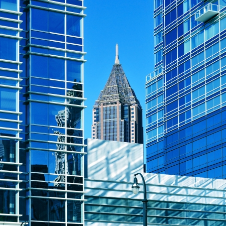 bank of america: Atlanta, US - October 21, 2011: Bank of America Plaza between some skyscrapers in Downtown in Atlanta, US. Atlanta has the nation
