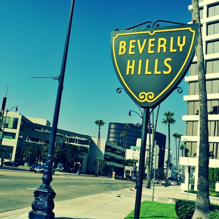 Beverly Hills, US - October 16, 2011: A Beverlly Hills sign in Wilshire Boulevard in Beverly Hills, US. The affluent city has a population of 34,109 at the 2010 census