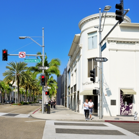 Beverly Hills, US - October 16, 2011: Rodeo Drive in Beverly Hills, US. There are more than 100 world-reknowed boutiques in this area