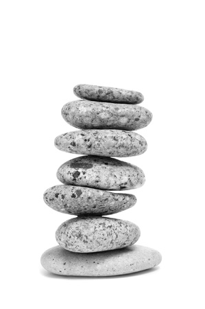 a pile of balanced zen stones on a white background Stock Photo - 17254257