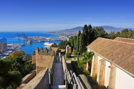 malaga: a view of Gibralfaro Castle and the port and the Mediterranean Sea in Malaga, Spain Stock Photo