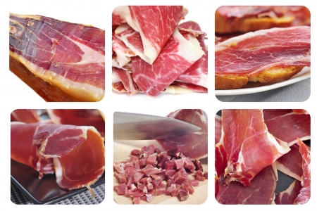 a collage of different pictures of spansih serrano ham photo