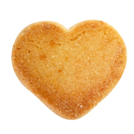 heartshaped: some heart-shaped shortbread biscuit on a white background