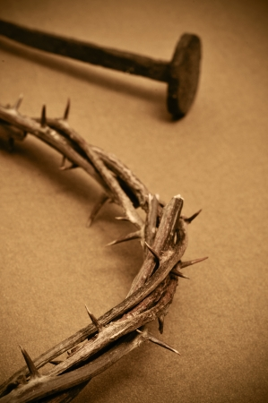 golgotha: closeup of a representation of the crown of thorns and nails of Jesus Christ in his passion