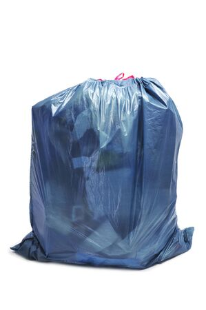 closeup of a full garbage bag on a white background photo