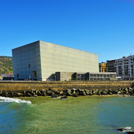 san sebastian: San Sebastian, Spain - November 15, 2012: Kursaal Convention Center and Auditorium in San Sebastian, Spain. Every year the Kursaal houses the San Sebastian International Film Festival Editorial