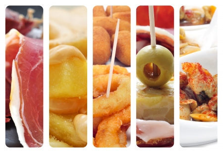 calamares: a collage of different pictures of different spanish tapas Stock Photo