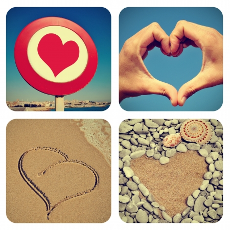 heart of stone: a collage of pictures of different heart-shaped things Stock Photo