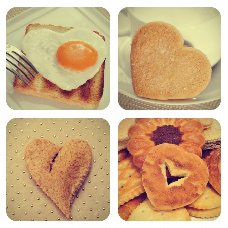 a collage of pictures of different heart-shaped food photo