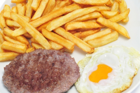 combination: closeup of a combo platter with fried egg, burger and french fries