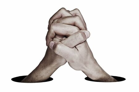 clemency: man hands together symbolizing cooperation or union on a white background