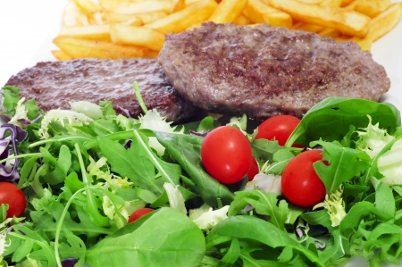 closeup of a combo platter with salad, burger and french fries Stock Photo - 17681687