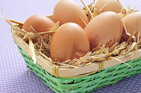 coop: closeup of a basket with straw and a pile of brown eggs