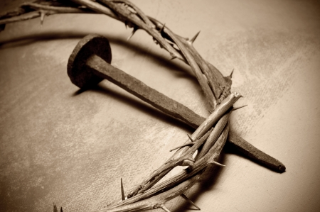 holy week: closeup of a representation of the Jesus Christ crown of thorns and nail
