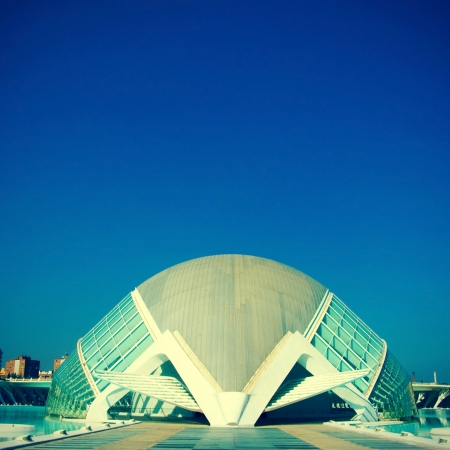 hemispheric: Valencia, Spain - March 17, 2010: Hemisferic in The City of Arts and Sciences of Valencia in Valencia, Spain. This futuristic building was designed by famous Santiago Calatrava Editorial