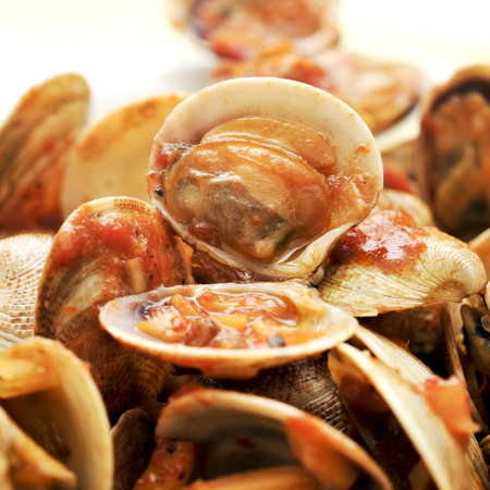 closeup of a plate with clams in marinara sauce photo