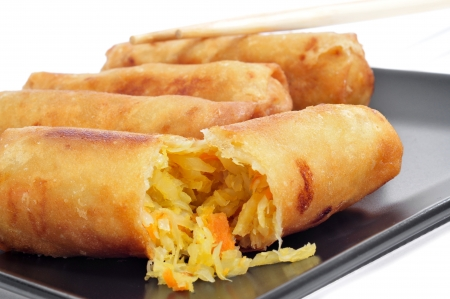 closeup of a plate with some spring rolls on a white background Stock Photo - 17794229