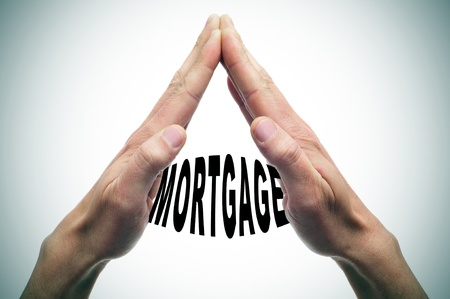 recourse: man hands forming a house with the word mortgage written inside