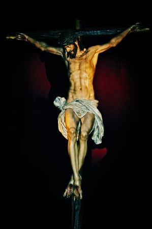 old figure of Jesus Christ in the Holy Cross Stock Photo - 17795236