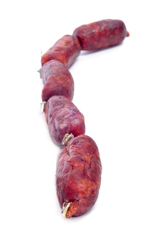 red spanish chorizos on a white background Stock Photo - 17795245