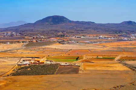 aerial view La Oliva town and La Arena volcano Fuerteventura, Canary Islands, Spain Stock Photo - 17948924
