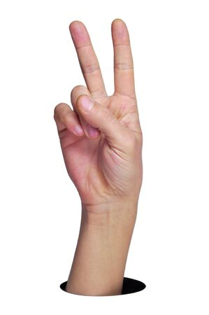 victory sign: a man hand making the V sign on a white background